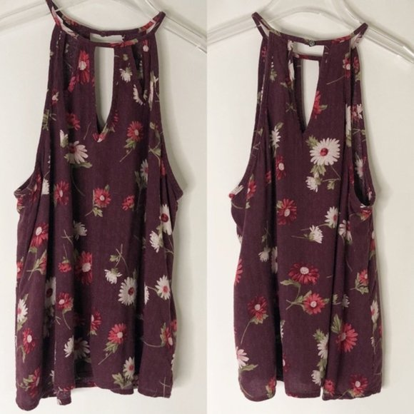 American Eagle Outfitters Tops - AE American Eagle Keyhole Floral High Neck Tank